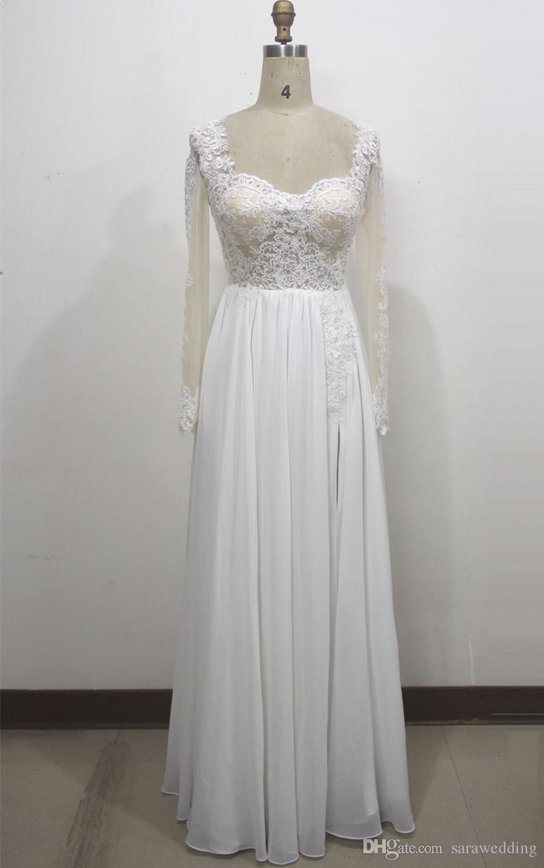 Платья с длинными рукавами и шифоновыми пляжами с кружевными аппликациями 2019 Bateau Neck Long Wedding Gown Real Photo
