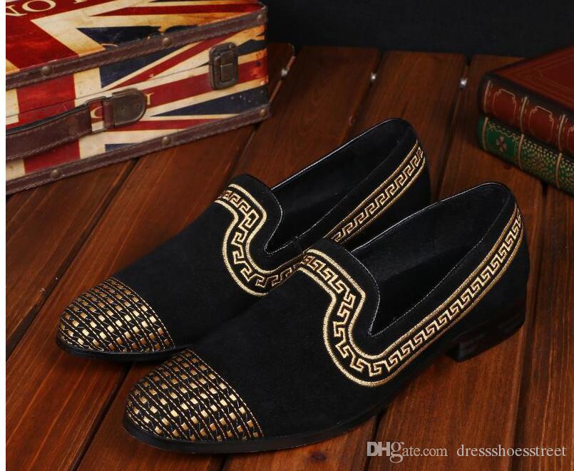 Mocasines de los hombres Zapatos de vestir de gamuza de la moda Zapatos Banquete de fiesta Zapatillas de fumar italianas Planos de los hombres Deslizamiento en más tamaño 12