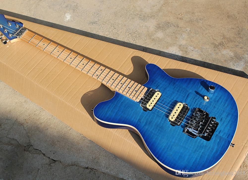 Mavi HH Transfer, Bej Alev Kaplama, Kuş adlı Boyun Gözler, Renk Shell Inlay, pe hizmetler sunan Floyd Rose Elektro Gitar