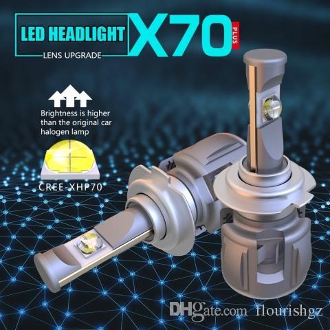 1 مجموعة H7 XHP-70 LENS Chips X70 LED المصباح سيارة المصابيح الأمامية المصابيح الأمامية 120W 15600LM توربو مروحة قابل للتعديل التركيز شعاع الأبيض 6000K سوبر برايت