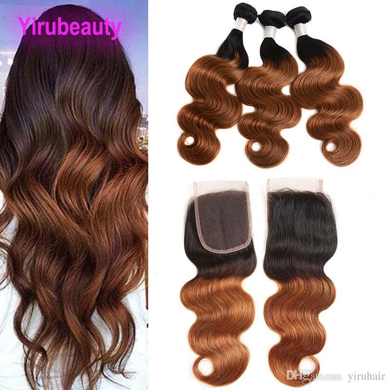 Indische Menschenhaar-Spitze-Schliessen mit 3 Bundles 1B / 30 Körper-Wellen-Ombre Haar-Einschlagfaden mit Verschluss mittleren drei freien Teil-Körper-Welle 1B 30