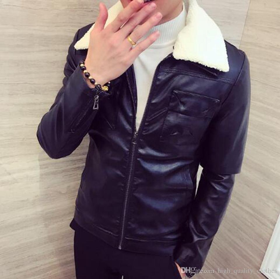 Mode automne et hiver nouvelle tendance européenne et américaine version coréenne d'hommes minces avec une veste en fourrure de couleur pure / M-3XL