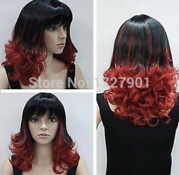 2015 Yeni sıcak satış Siyah Ve Kırmızı Sentetik Uzun Kıvırcık Ombre Lady peruk