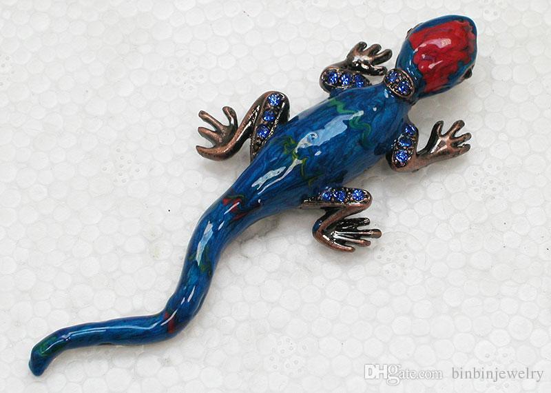 Gratis frakt grossist kristall rhinestone emalj broscher gecko pin brosch smycken gåva c720