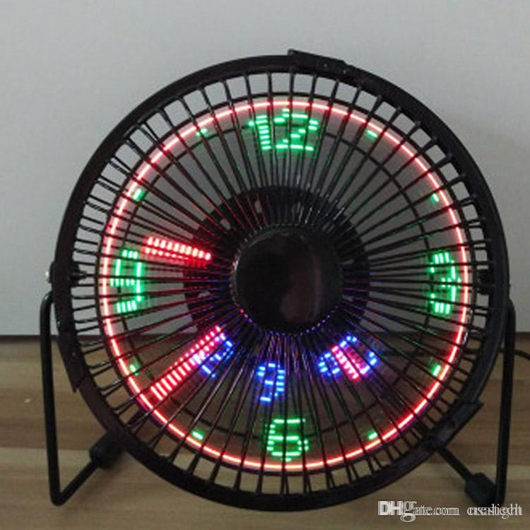 Mini USB 5V ventilator fan with LED clock micro fan exhanst fan New and fashion cool xmas & birthday gift