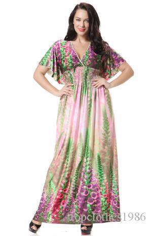 2018New en kaliteli Kadın Plus Size Elbise 7XL 6XL 5XL 4XL Moda Bohem Elbise V-Yaka yarasa kol Çiçek zarif Seksi Plaj elbise yazdırmak
