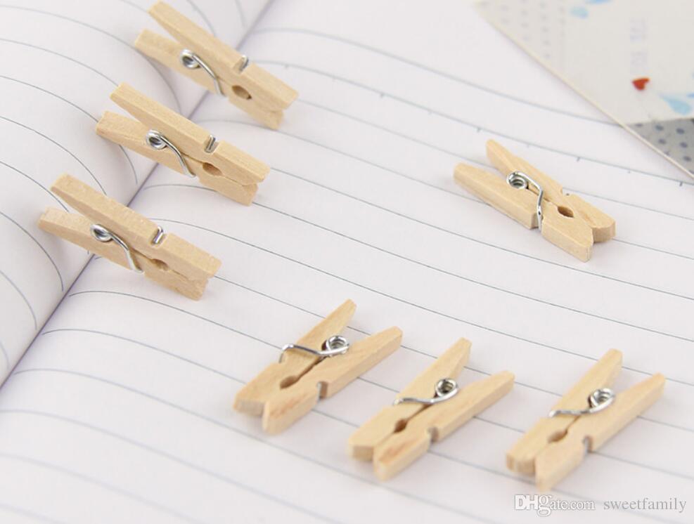 Kalite Mini Bahar Ahşap Klipler Giysi Fotoğraf Kağıdı Peg Pin Clothespin Craft Klipler Parti Ev Dekorasyon