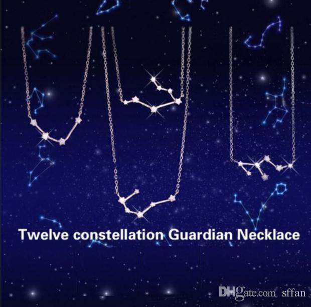 Zodiaco femenino signo de estrella chapado en platino rhinestone guardian collar colgantes 12 constelaciones accesorios de joyería cadena de personalidad