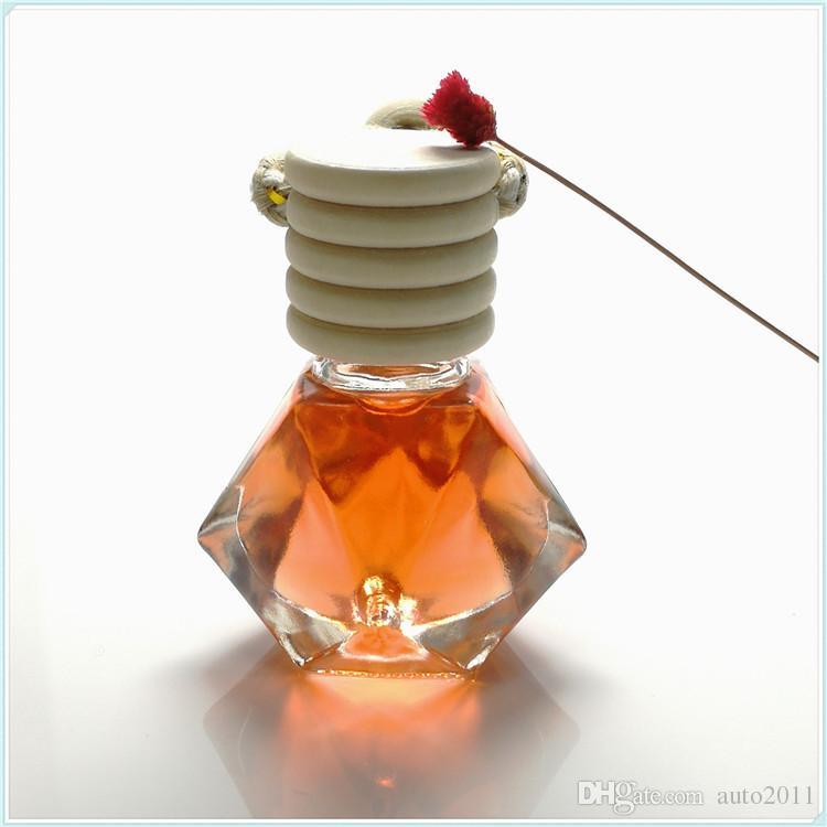 Bottiglia di profumo per auto di moda Forma di diamante Spina di legno Ciondolo in vetro vuoto Auto appesa Ornamento Deodorante