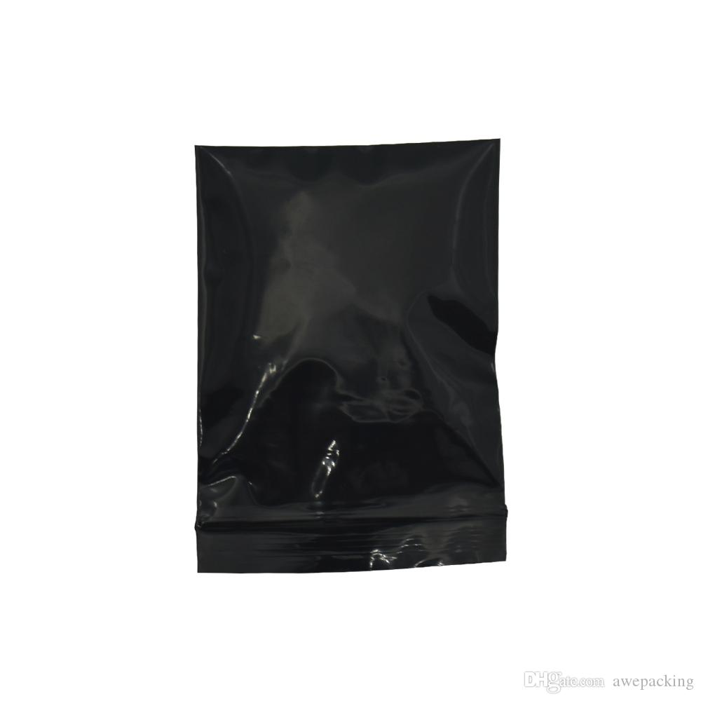 3000Pcs/Lot 6*8cm DHL Top Zipper Black Plastic Bag Self Seal Package Bags With Tea Notch For Electronics Crafts Opaque Storage Pouches
