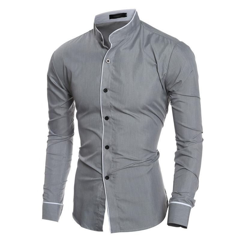 Camicia da uomo in tela a doppia altezza Camicia a maniche lunghe in tinta unita nuova marca Camicia casual a maniche lunghe da uomo Camisa Masculina Xxl Camicie casual
