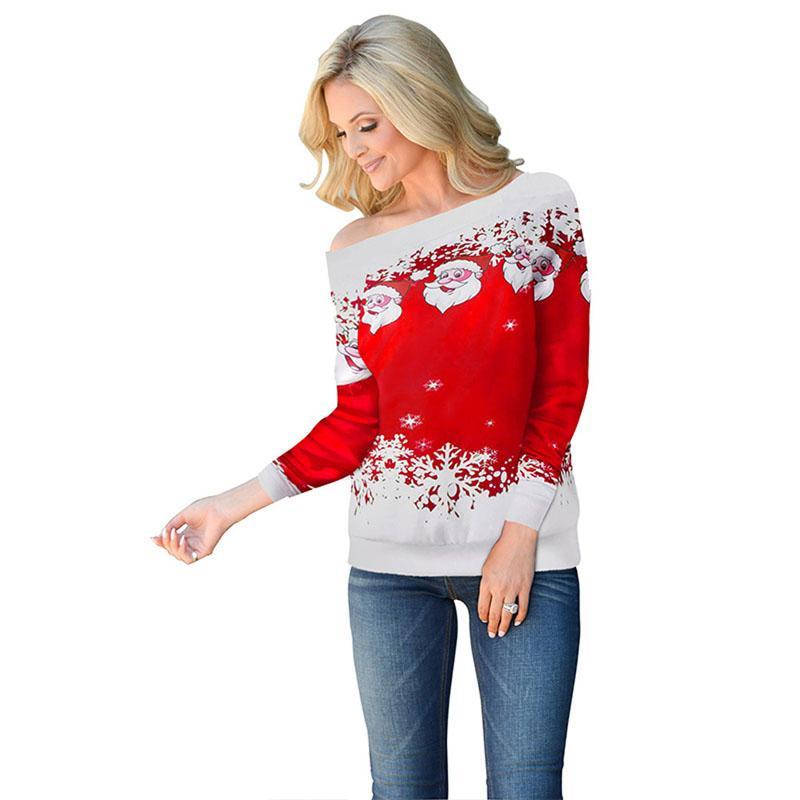 Felpe donna abiti natalizi New Santa Claus fiocco di neve stampa girocollo manica lunga rosso verde nero 3 colori felpe 2xl 811