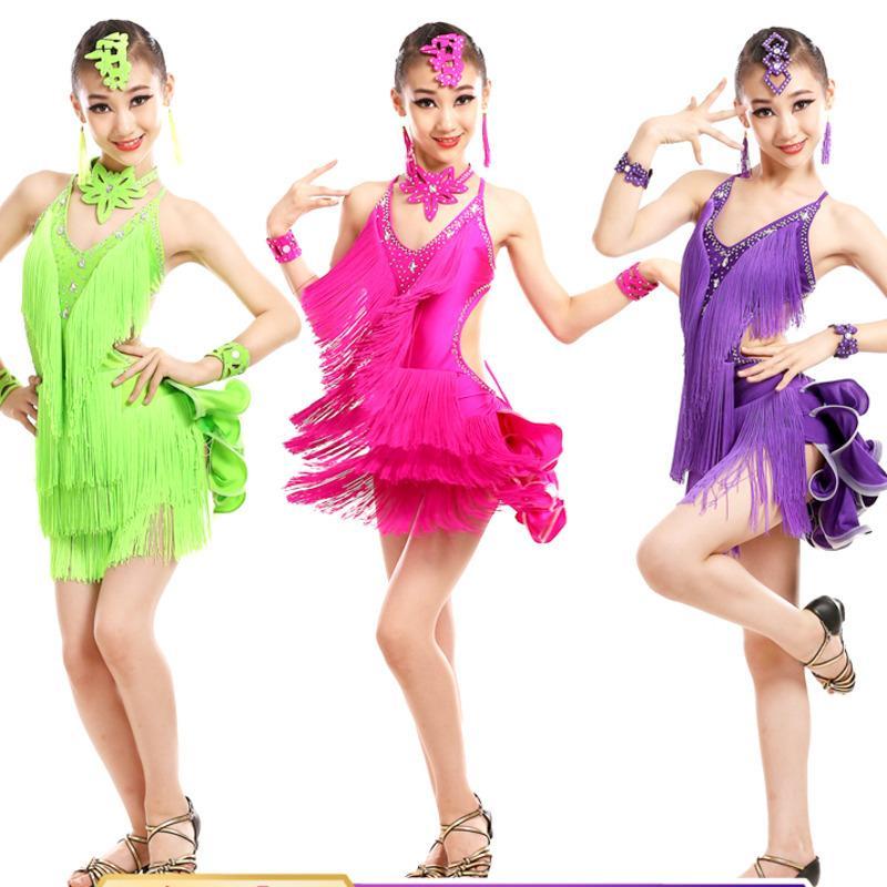 Сцена носить латинское танцевальное платье для девочек костюмы детская одежда бальные соревнования платья мода леотард блестки блестеть кисточек сальса