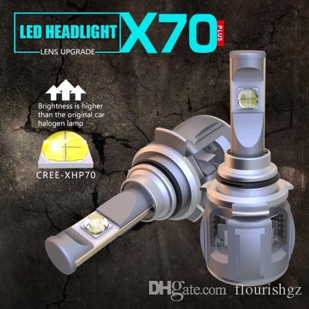 مجموعة 1 9012 HIR2 XHP-70 LENS Chips X70 LED المصباح سيارة المصابيح الأمامية الأمامية المصابيح 120W 15600LM توربو مروحة قابل للتعديل التركيز شعاع الأبيض 6000K مشرق
