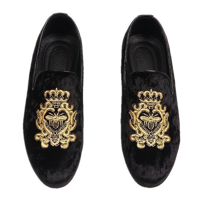 Hot Sale Velvet embroidery Men Dress Shoes Men's Flats Male Slip-On Driving Shoes Soft Comfortable Designer Loafers Moccasins