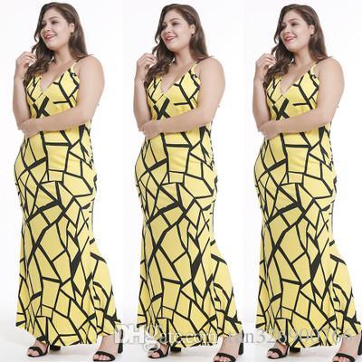 Cross-border women's 2018 summer European and American sling deep V-neck dress slim long skirt beach skirt female models large size