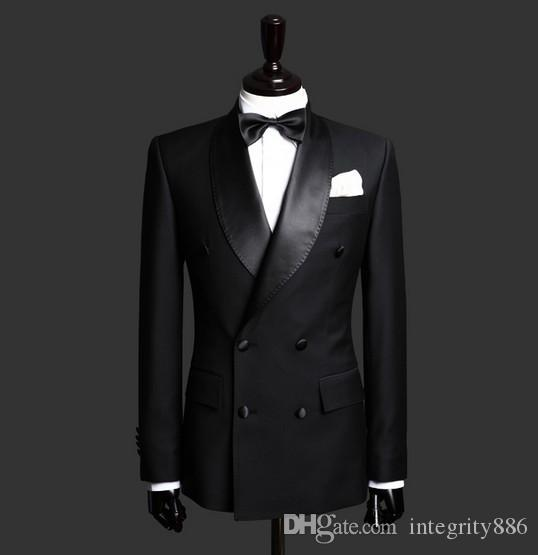 Customize Double-Breasted Black Groom Tuxedos Shawl Lapel Side Vent Groomsmen Blazer Men Business Formal Prom Suit(Jacket+Pants+BowsTie) 200