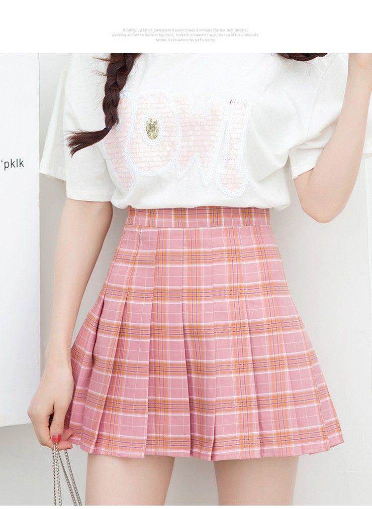 Fashion Summer Skirt Women 2018 Ete Skirts Casaul Pleated Ladies Skirts High Waist Mini Skirt Female Skirt Plaid Saia Jupe Femme (7)