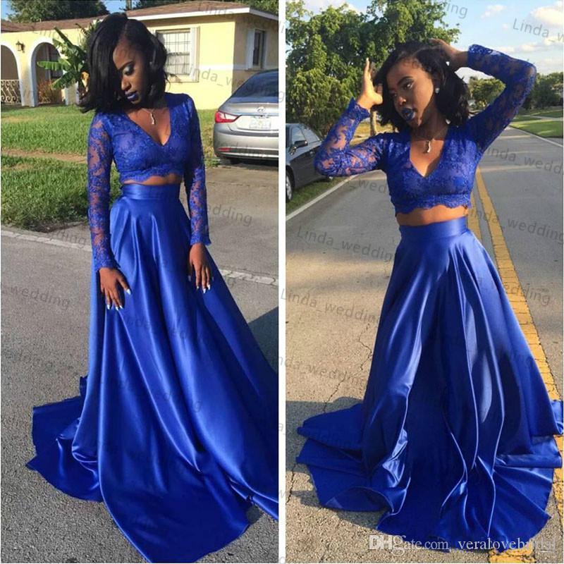 2017 королевский синий две пьесы арабский Пром платье Южной Африки трапеция V-образным вырезом длинные выпускной вечернее платье плюс размер на заказ