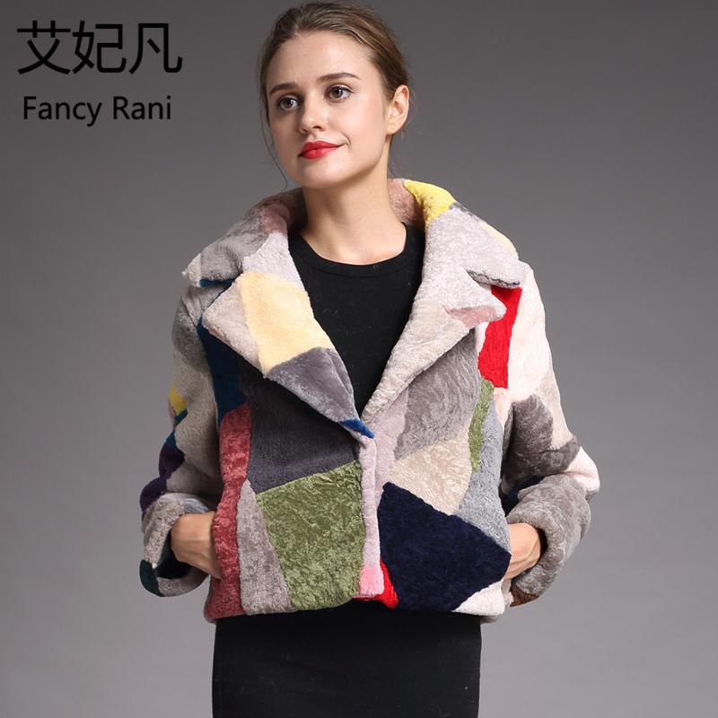Mode Véritable Manteaux De Fourrure En Peau De Mouton pour Femmes Hiver Chaud Manteau De Laine Femelle Noble Patchwork Chaud Moutons Cisaillement Veste Outwear S18101102