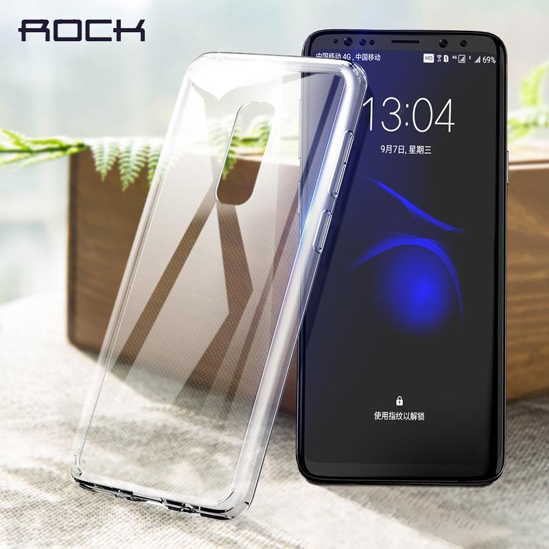 Caso de telefone de proteção de ROCK para Samsung Galaxy S9 S9 mais, TPU Premium + PC Telefone de anti-batida Caso de magro transparente para Galaxy S9 S9 +