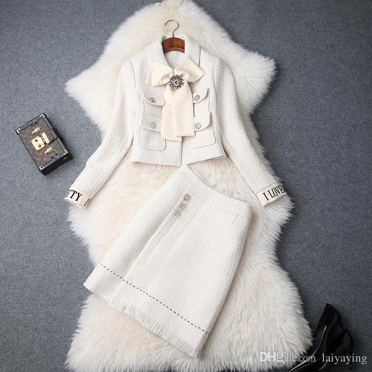 Avrupa ve Amerikan kadın 2018 kış giyim yeni ilmek Uzun kollu ceket + Moda Tweed takım etek