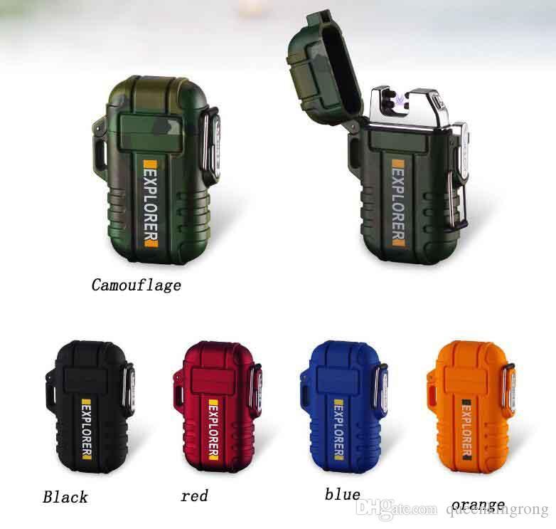 최신 방풍 방수 듀얼 아크 플라즈마 라이터 USB 충전식 담배 흡연 라이터 선물 상자 끈 ABS 5 색