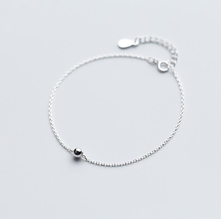 925 Solid Sterling Silver Fashion Jewelry Tiny Ball Bead Simple Dainty Chain Bracelet For Women A2874