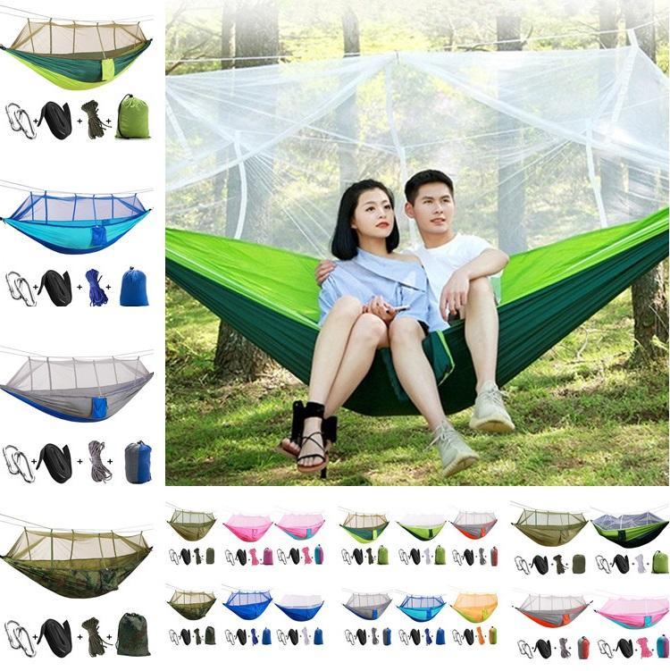 12 colores 260*140 cm hamaca portátil con mosquitera hamaca colgante cama doblada en la bolsa para viajes T2I301
