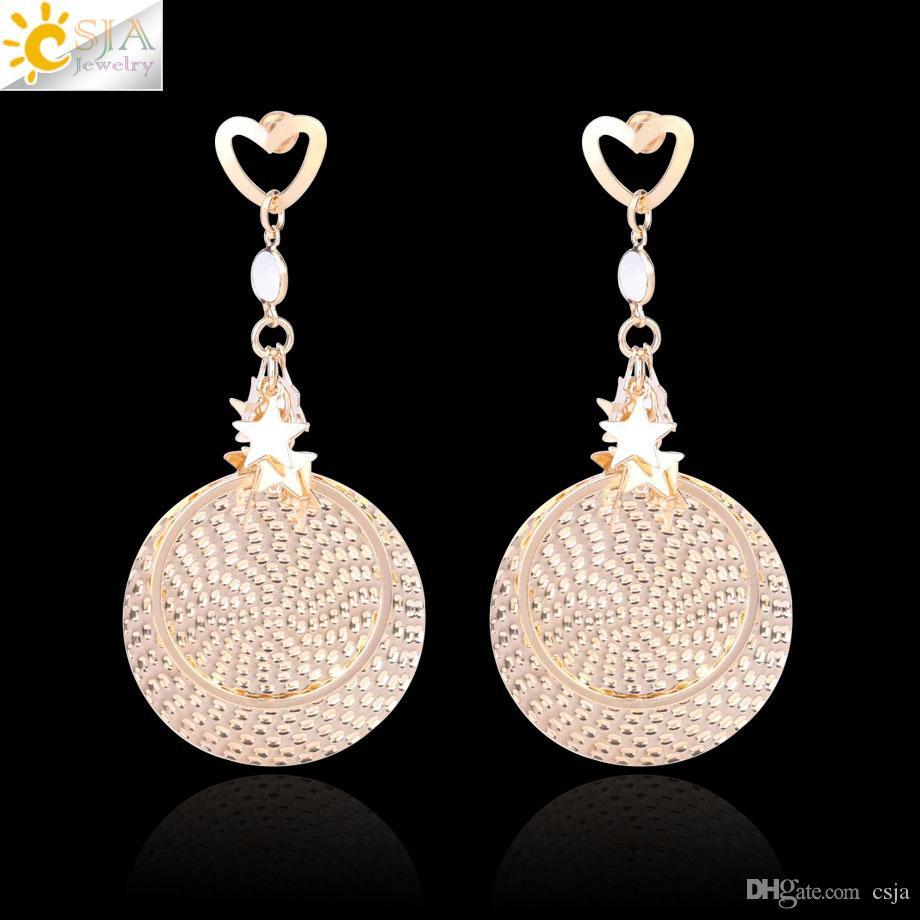 CSJA 2018 Eardrop for Women Beach Long Earrings Gold Star Beads Boho Jewelry Circle Charms Dangle Earring Girls Hip Hop Christmas Gift F674