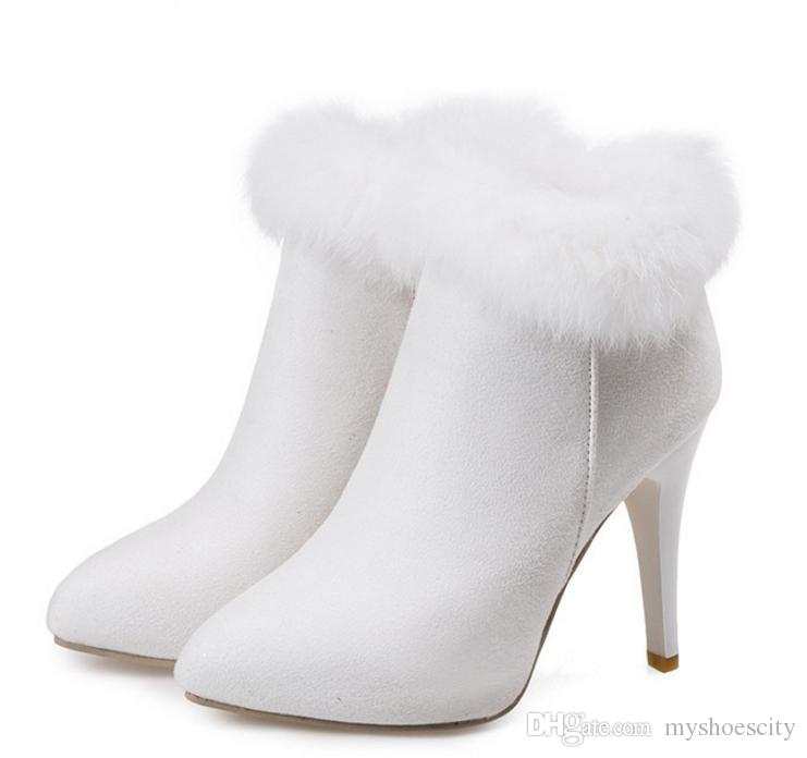 Keep Warm White Fur Boots Winter Ankle