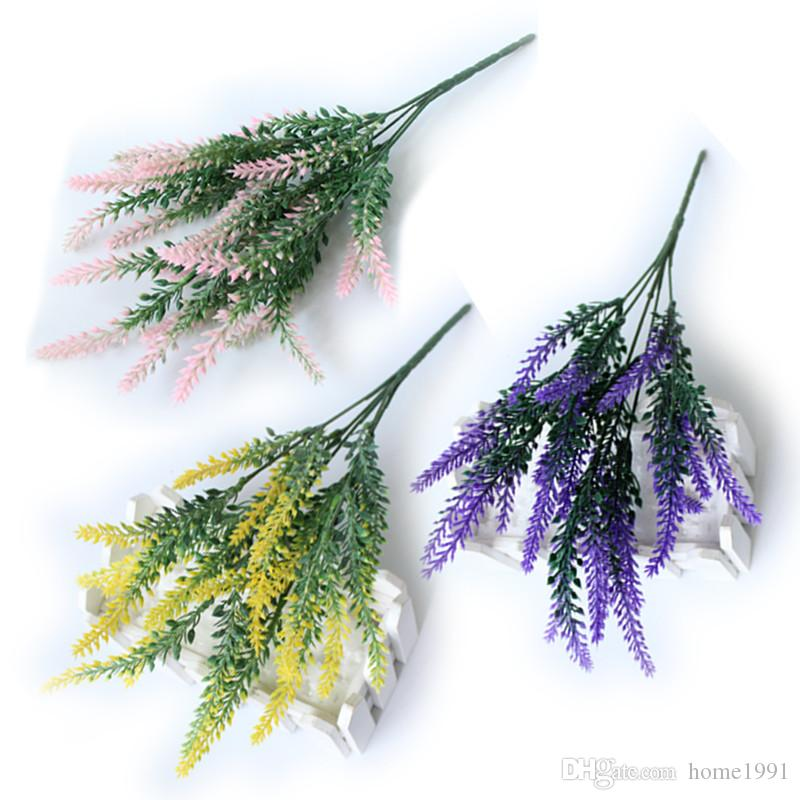 New Provence Lavender Flower Silk Tomentum Colorful Artificial Lavender Flower Wedding Decoration Home Party Simulation Eternal Flowers