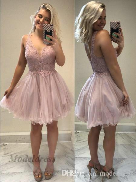 Sexy Rose Pink Homecoming Dresses V Neck Tulle A Line Open Back Lace Tops Spaghetti Appliques Short Party Dresses vestidos de fiesta cortos