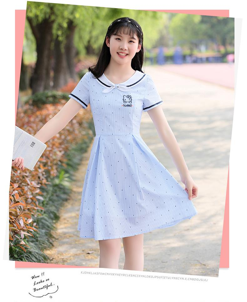 2018 nueva muñeca de verano punto punto lindo vestido de niñas de secundaria secundaria escuela arco falda de una línea