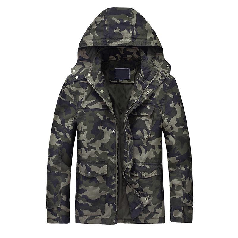 Camo dos homens novos com capuz jaqueta de algodão masculino camuflagem blusão jaquetas multi bolsos casacos outerwear jaqueta masculina