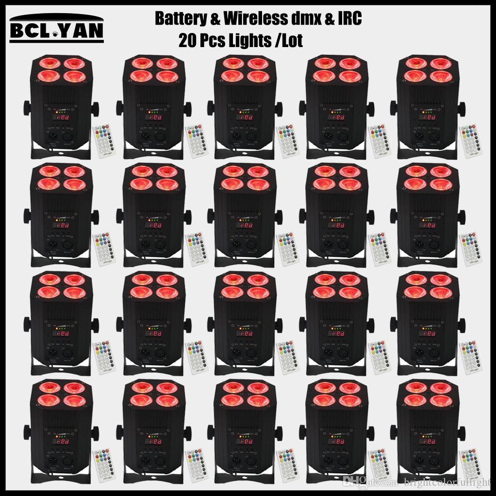 20XLOT discount price freedom led wireless dmx battery rgbwa uv 6 in 1 wash par light Hex 4*18w infrared remote uplight bars