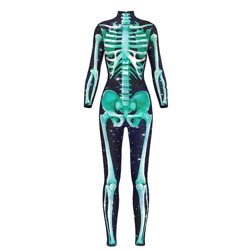 Новые женщины Хэллоуин сексуальные комбинезоны зеленый желтый скелет элегантный длинный рукав комбинезоны S до XL 2 моделей