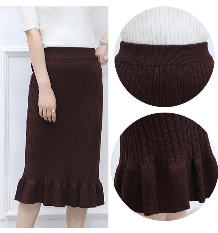 Winter Knitted Skirts Women High Waist Mermaid Skirt Saia Knitting Pack Hip Skirt Women\`s 2019 Casual Bodycon Faldas Mujer (2)