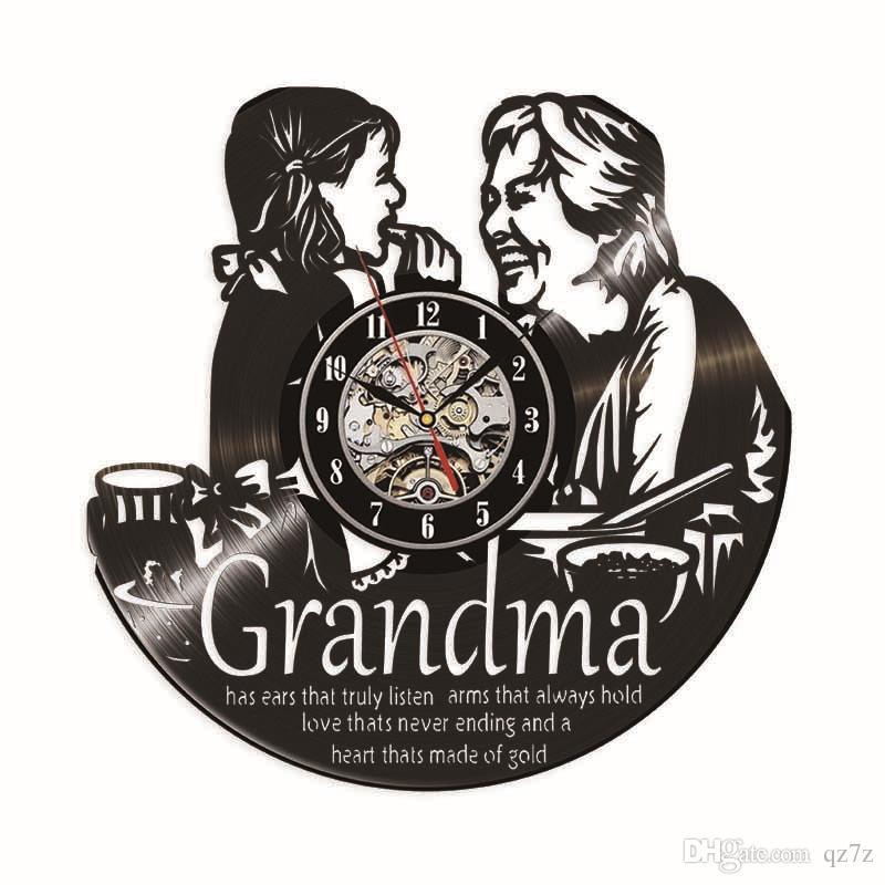 Vovó amo vinil relógio de parede de quartzo amor presente moderno decoração da casa de parede relógio de arte (tamanho: 12 polegadas, cor: preto)