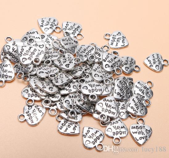 Charms bricolaje pequeño corazón de melocotón pulsera accesorios colgantes Carta de regalo de San Valentín amor bromista collar