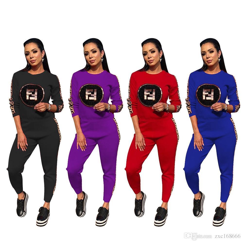 Lantejoulas F Carta Revestida de Fita Duas Peças Set Top e Calças Mulheres Treino 2019 Inverno Suor Esporte Terno Casuais camisola