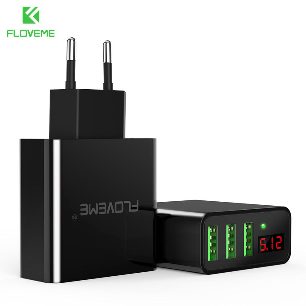 wholesale USB Charger 3 Ports Digital Wall Charger Portable Travel Adapter Mobile Phone Chargers For iPhone Samsung Xiaomi OnePlus