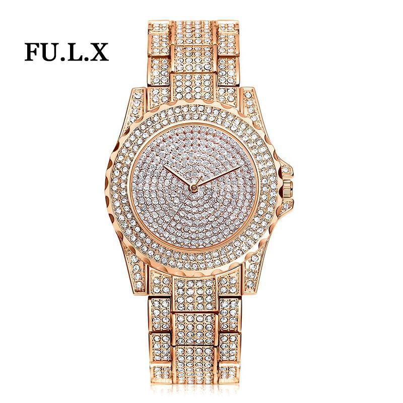 2018 Nova Chegada de Luxo Mulheres Relógios Strass Cristal Relógio de Pulso Senhora Vestido Relógio de Quartzo Analógico Relógios de Luxo dos homens Relogio S924W