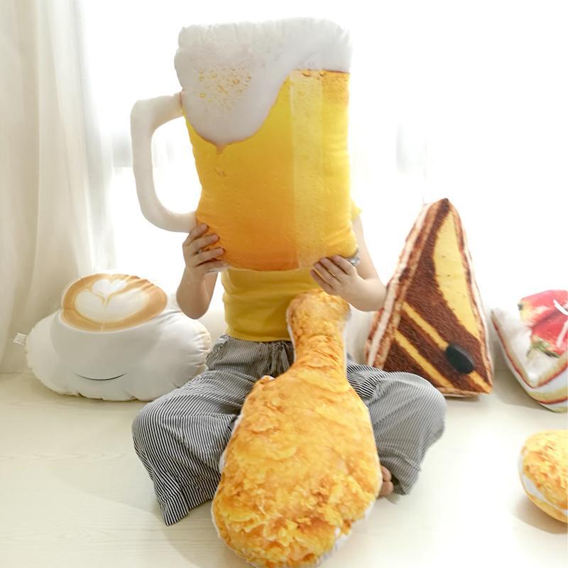 انخفاض الشحن محاكاة شكل أفخم وسادة الإبداعية كعكة القهوة البيرة أفخم لعب محشوة وسادة ديكور المنزل هدايا للأطفال