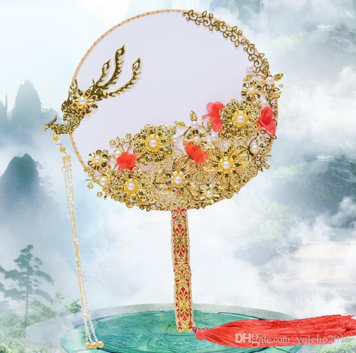 2018 Boda nupcial grupo nupcial fan holding chino clásico palacio estilo fan decoración de la boda estilo chino
