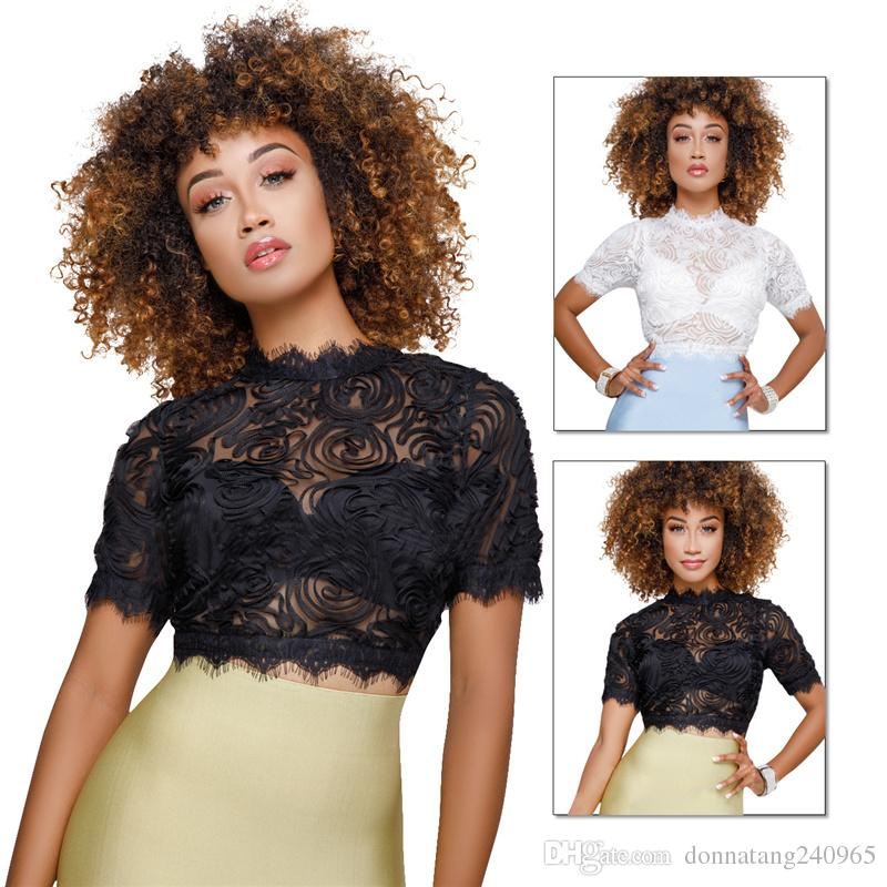 Sexy floral Mesh Lace Blouse Women Short Sleeve Shirt Female tops Ladies Sexy Lace Mesh Crop Top blouses
