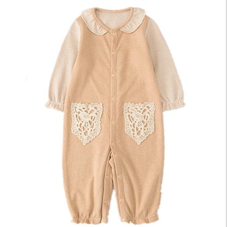 mameluco de algodón 2018 venta caliente INS otoño niños lindo bolsillo de encaje de algodón de alta calidad de manga larga de encaje muñeca cuello mameluco envío gratis