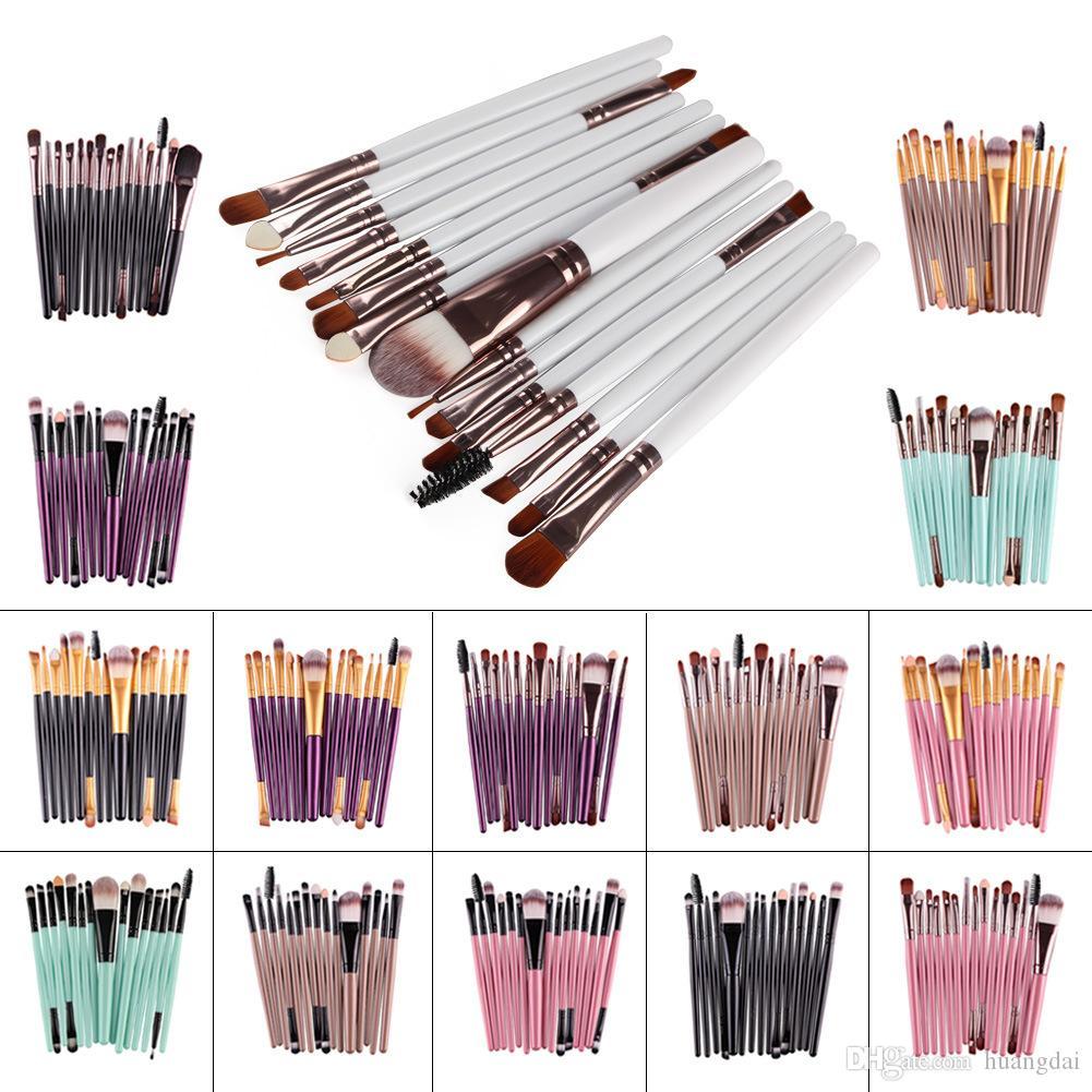 15 adet / takım Maange Profesyonel makyaj Fırçalar Taşınabilir Makyaj Fırçalar Seti Pudra Fondöten Dudaklar Gözler Kozmetik Araçları
