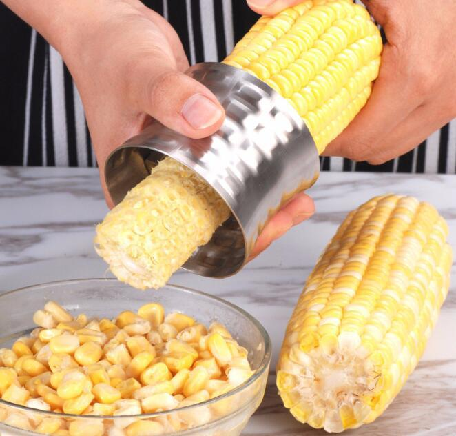 corn Striper Stainless Steel Corn Stripper Grain Separator Cob Remover Cutter Thresher for Kitchen Cooking Tools