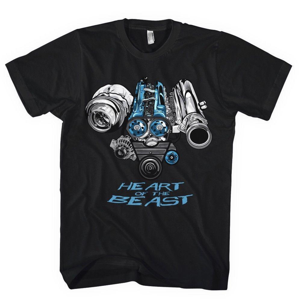 Calidad 2018 Venta Camiseta de verano Camisa de altura Coche JDM Motor 2JZ Hot Japón 2Jz Tuning Turbo 100% algodón para hombre camisas SXPDH